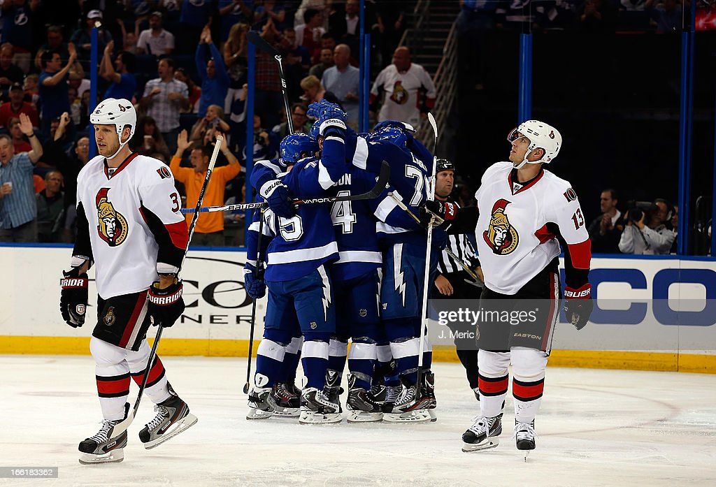 The Tampa Bay Lightning celebrate a second period goal against the Ottawa Senators during the game at the Tampa Bay Times Forum on April 9, 2013 in Tampa, Florida.