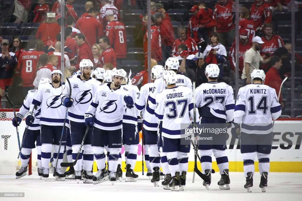 The Tampa Bay Lightning celebrate after defeating the Washington Capitals in Game Three of the Eastern Conference Finals during the 2018 NHL Stanley Cup Playoffs at Capital One Arena on May 15, 2018 in Washington, DC. The Tampa Bay Lightning defeated the Washington Capitals with a score of 4 to 2.