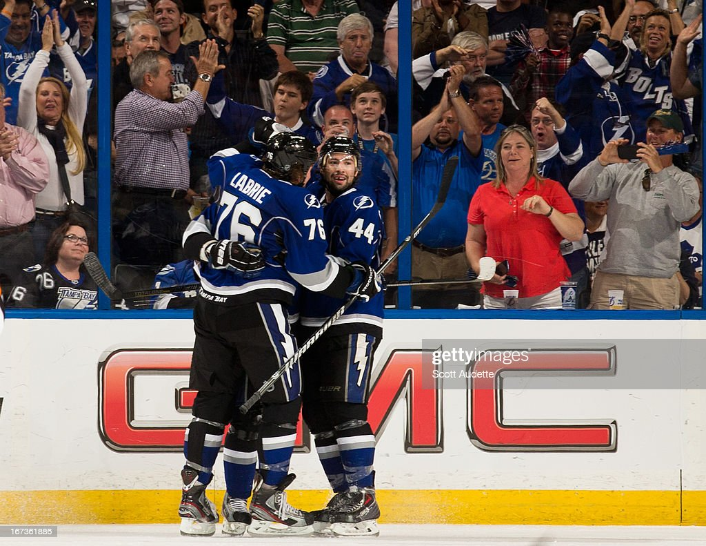 The Tampa Bay Lightning celebrate after Steven Stamkos #91 scores during the second period of the game against the Toronto Maple Leafs at the Tampa Bay Times Forum on April 24, 2013 in Tampa, Florida.