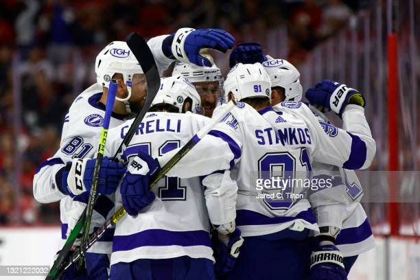 The Tampa Bay Lightning celebrate following a goal by Alex Killorn during the second period in Game Two of the Second Round of the 2021 Stanley Cup...