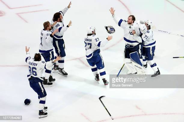 The Tampa Bay Lightning celebrate following the serieswinning 20 victory over the Dallas Stars in Game Six of the 2020 NHL Stanley Cup Final at...