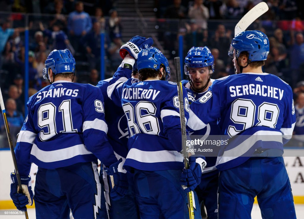 The Tampa Bay Lightning celebrate the goal against the Ottawa Senators during the third period at Amalie Arena on March 13, 2018 in Tampa, Florida.