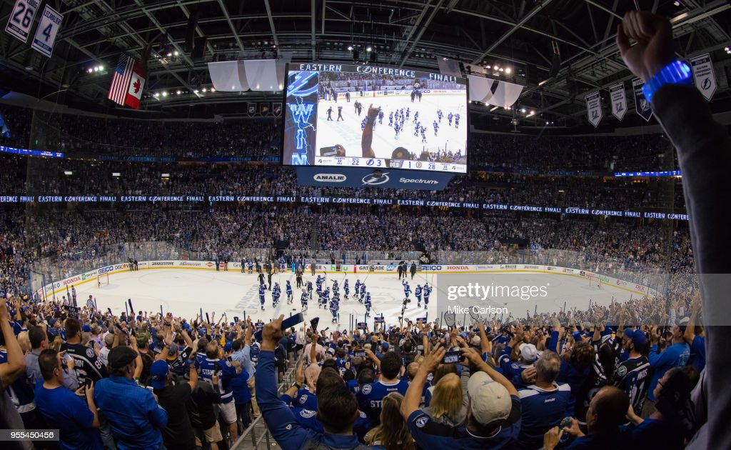 The Tampa Bay Lightning celebrate the series win against the Boston Bruins after Game Five of the Eastern Conference Second Round during the 2018 NHL Stanley Cup Playoffs at Amalie Arena on May 6, 2018 in Tampa, Florida.