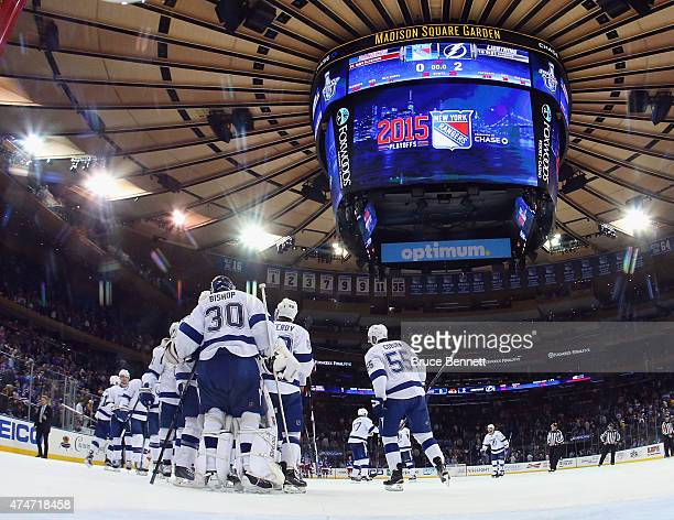 The Tampa Bay Lightning celebrate their 20 victory over the New York Rangers in Game Five of the Eastern Conference Finals during the 2015 NHL...