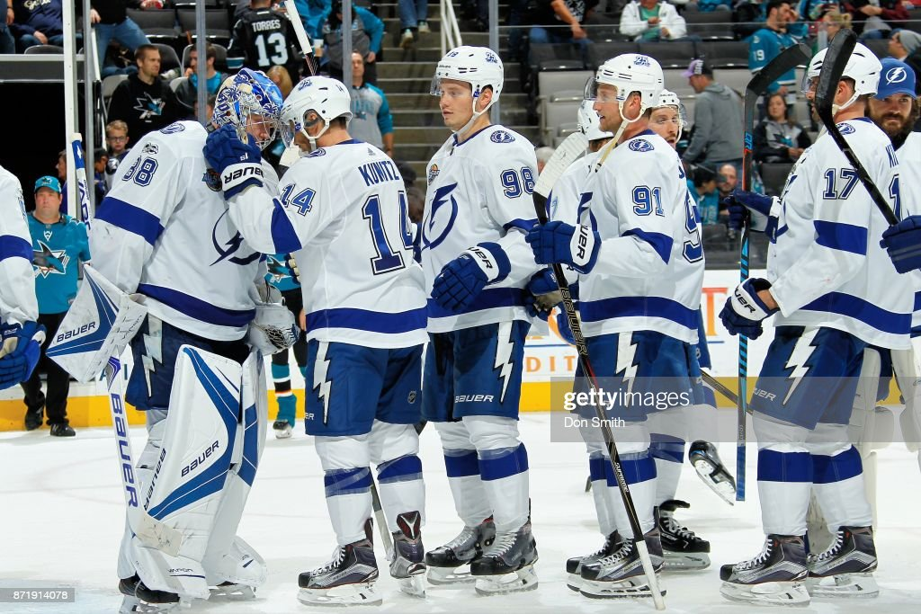The Tampa Bay Lightning celebrate their win over the San Jose Sharks at SAP Center on November 8, 2017 in San Jose, California. The Lightning defeated the Sharks 5-1.