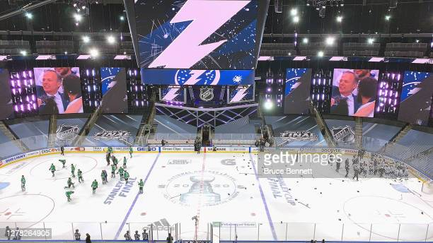 The Tampa Bay Lightning celebrate winning the Stanley Cup following victory over the Dallas Stars in Game Six of the 2020 NHL Stanley Cup Final at...
