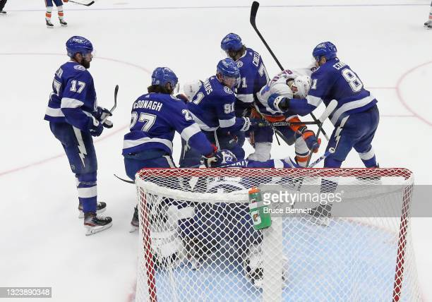 The Tampa Bay Lightning defend against Mathew Barzal of the New York Islanders in Game Two of the Stanley Cup Semifinals during the 2021 Stanley Cup...