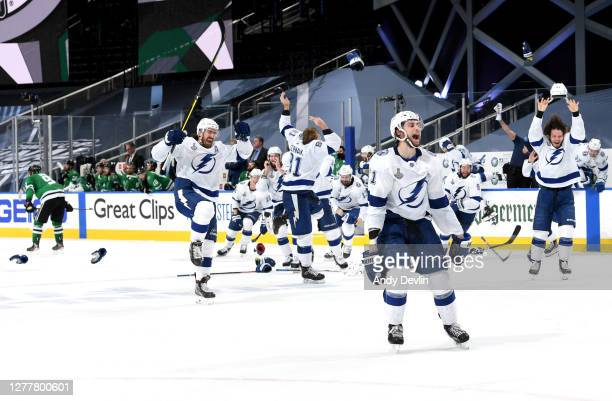 The Tampa Bay Lightning empty the bench in celebration for winning the Stanley Cup by defeating the Dallas Stars 2-0 in Game Six of the NHL Stanley...