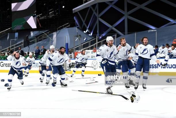 The Tampa Bay Lightning empty the bench in celebration of winning the Stanley Cup by defeating the Dallas Stars 2-0 in Game Six of the NHL Stanley...
