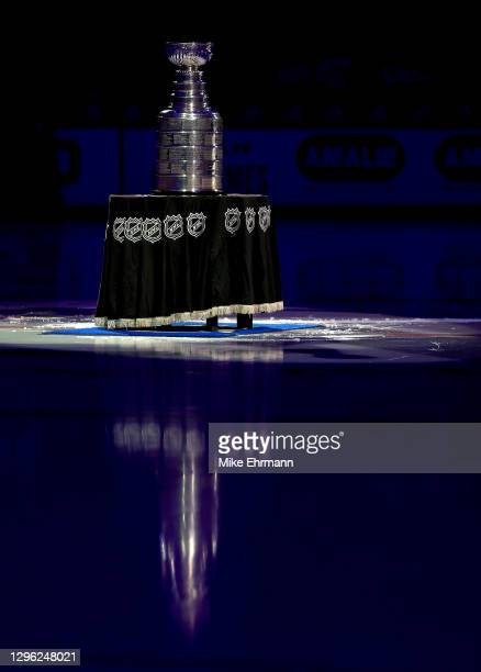 The Tampa Bay Lightning present the Stanley Cup celebrating winning for the 2019-20 NHL season during a game against the Chicago Blackhawks on...