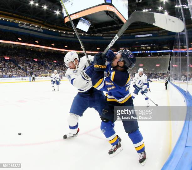 The Tampa Bay Lightning's Slater Koekkoek left collides with the St Louis Blues' Vladimir Sobotka in the first period on Tuesday Dec 12 at the...