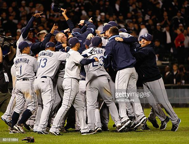 The Tampa Bay Rays celebrate after their 62 win against the Chicago White Sox in Game Four of the ALDS during the 2008 MLB Playoffs at US Cellular...