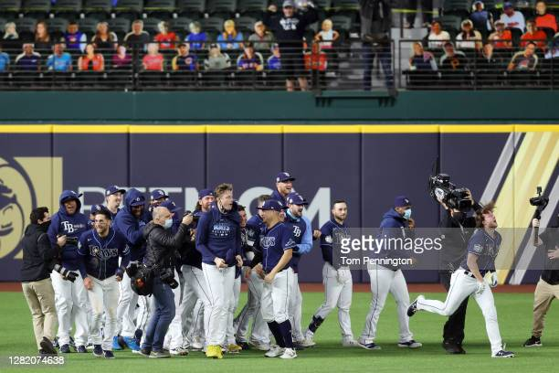 The Tampa Bay Rays celebrate the ninth inning two-run walk-off single by Brett Phillips to defeat the Los Angeles Dodgers 8-7 in Game Four of the...