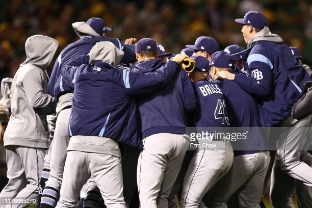 The Tampa Bay Rays celebrate their 51 win over the Oakland Athletics in the American League Wild Card Game at RingCentral Coliseum on October 02 2019...
