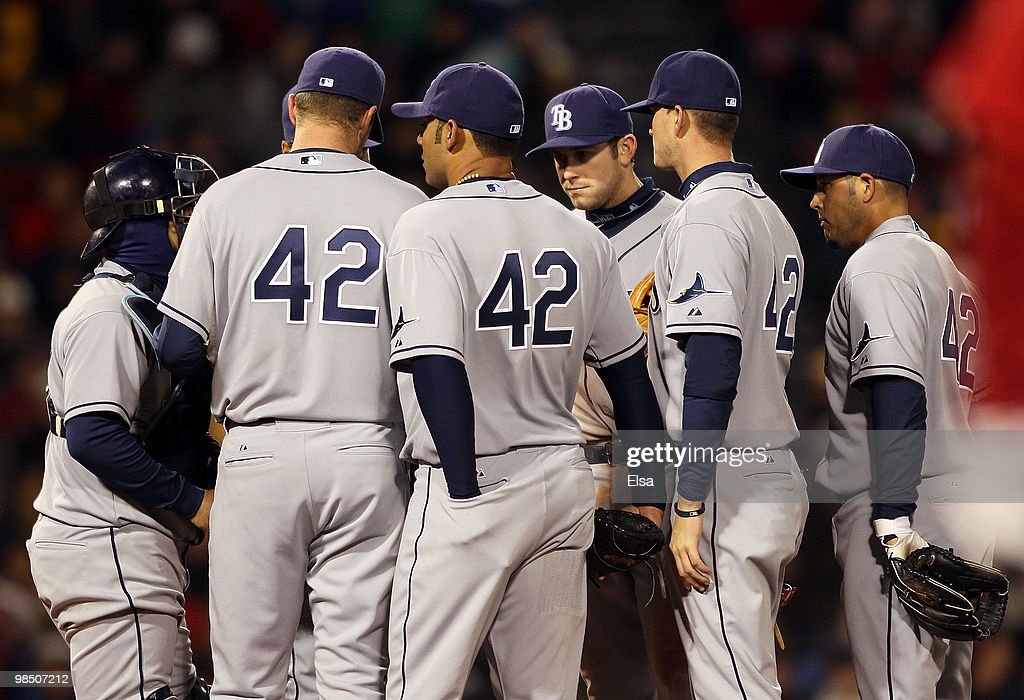 The Tampa Bay Rays gather on the pitchers mound in the fourth inning against the Boston Red Sox on April 16, 2010 at Fenway Park in Boston, Massachusetts. The Tampa Bay Rays wore the number 42 to honor Jackie Robinson.