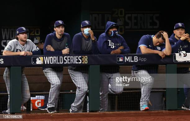 The Tampa Bay Rays looks on from the dugout against the Los Angeles Dodgers during the eighth inning in Game Six of the 2020 MLB World Series at...