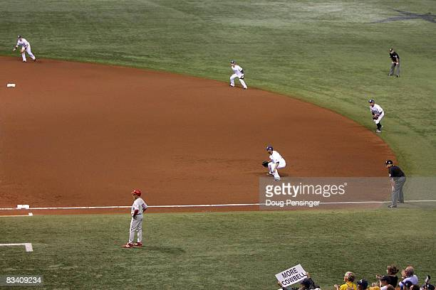 the Tampa Bay Rays play the infield shift on defense as Chase Utley of the Philadelphia Phillies bats during the top of the first inning of game two...
