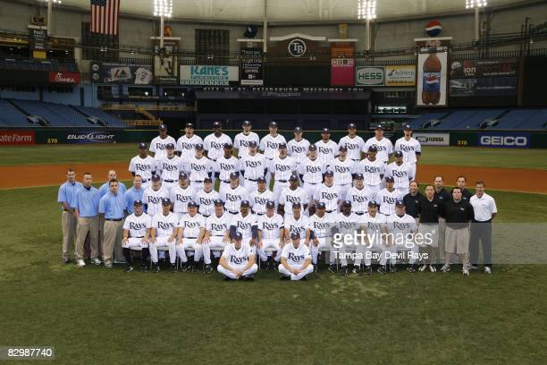 The Tampa Bay Rays pose for a team photo on May 10 2008 at Tropicana Field in Tampa Florida