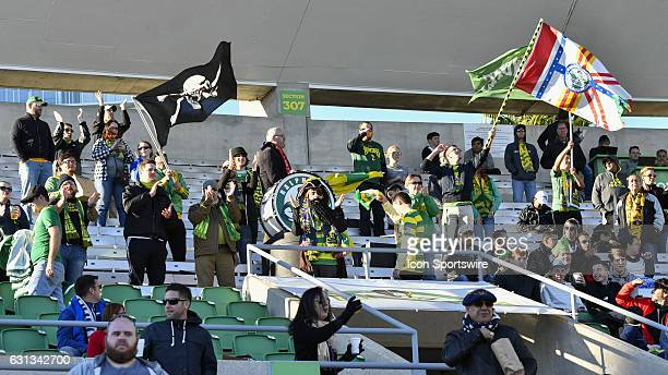 The Tampa Bay Rowdies supporters during the first half of a Florida Cup soccer game between the Tampa Bay Rowdies and VFL Wolfsburg on January 08 at...