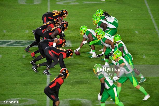 The Tampa Bay Vipers line up against the LA Wildcats at Dignity Health Sports Park during an XFL game on March 8 2020 in Carson California LA won 4134