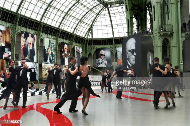 The tango dancer is photographed for Paris Match at the tribute to Karl Lagerfeld at the Grand Palais on June 20, 2019 in Paris, France.