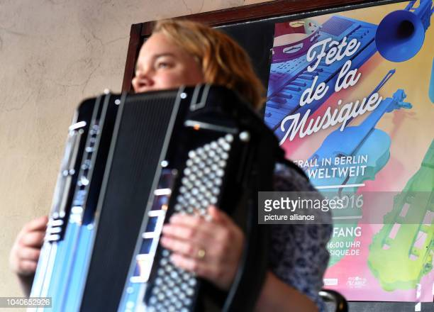 The 'Tango Element Project' performs as part of the Fete de la Musique festival in front of the restaurant Ganymed in Berlin Germany 21 June 2016...