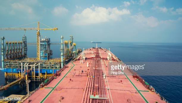 the tanker docked at the sea terminal - gulf countries stock pictures, royalty-free photos & images