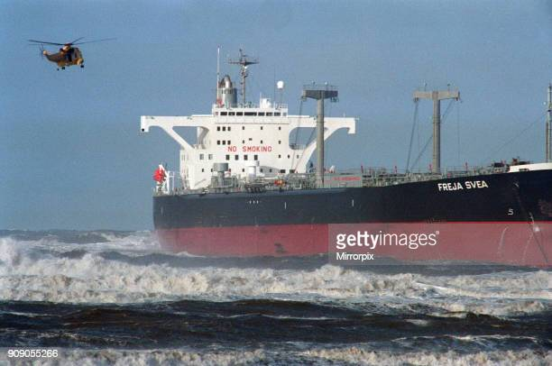 The tanker Freja Svea which ran aground at Redcar North Yorkshire 28th February 1993