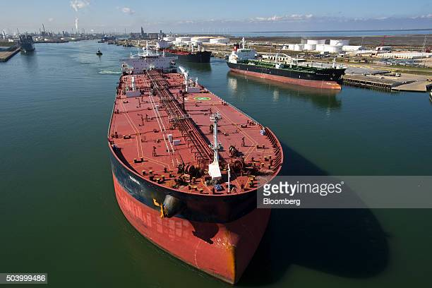 The tanker Maria sails out of the Port of Corpus Christi after discharging crude oil at the Citgo refinery in Corpus Christi Texas US on Thursday Jan...