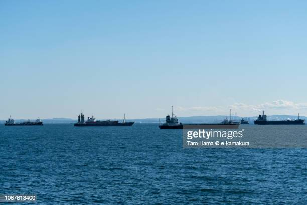 The tankers sailing on Tokyo Bay in Japan