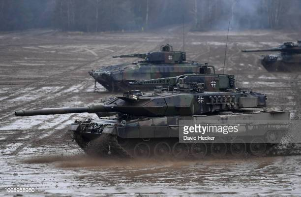 The tanks Leopard 2 and Puma of the German Bundeswehr during a training at the Bundeswehr infantry training facility on December 6 2018 in Munster...