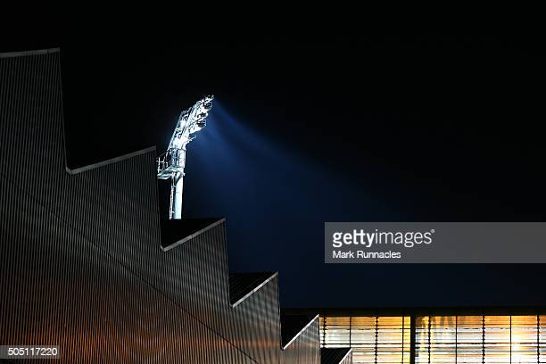 The Tannadice Park floodlights illuminate the freezing evening air ahead of the Ladbrokes Scottish Premiership match between Celtic FC and Dundee...