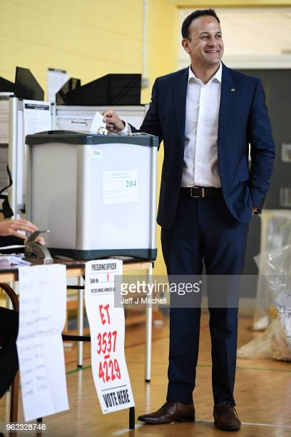 The Taoiseach Leo Varadkar casts his vote in Irelands abortion referendum at Scoil Thomas Lodge polling station on May 25 2018 in Dublin Ireland...