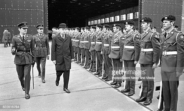 The Taoiseach Mr Liam Cosgrave inspecting the Guard of Honour when he arrived at Casement Aerodrome to unveil a plaque to commemorate the flight of...