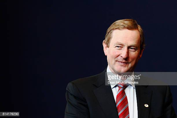 The Taoiseach of Ireland Enda Kenny looks on after the family photo call at The European Council Meeting In Brussels held at the Justus Lipsius...