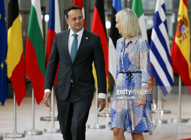 The Taoiseach of Ireland Leo Varadkar and Helen McEntee Irish Minister of State for European Affairs arrive for the december European Council at the...