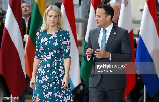 The Taoiseach of Ireland Leo Varadkar and her Minister for European Affairs Helen McEntee arrive at the European Council on October 17 2019 in...