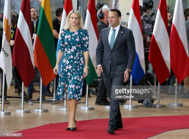 The Taoiseach of Ireland Leo Varadkar and his Minister for European Affairs Helen McEntee arrive at the European Council on October 17 2019 in...