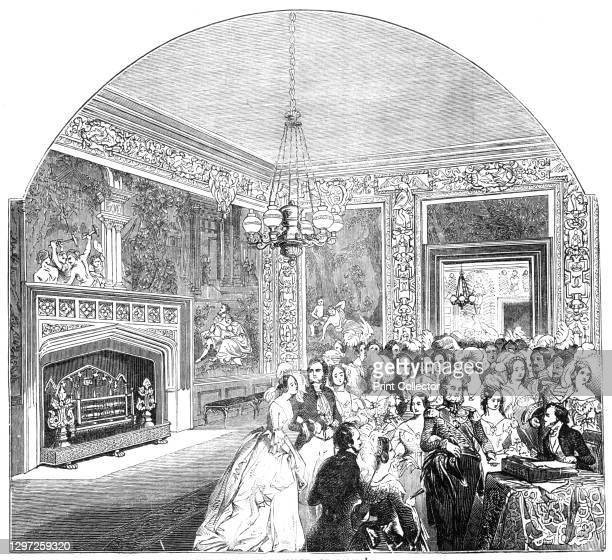 """The Tapestry Chamber, St James's Palace, 1844. 'Our engraving represents the Tapestry Chamber, recently renovated; with the form of """"Court Circular""""..."""