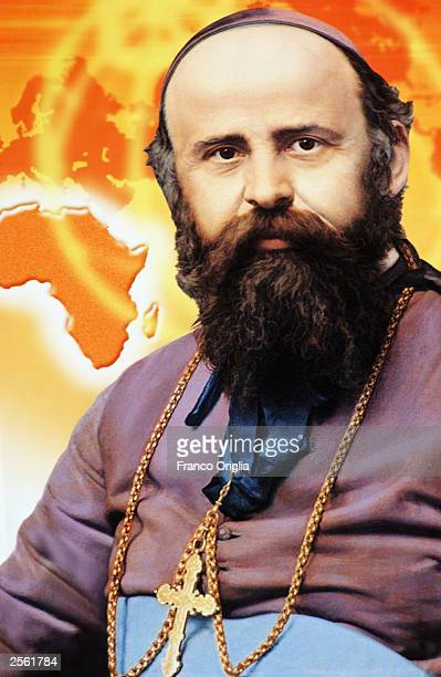 The tapestry of the founder of Missionary Order of Comboniani Daniele Comboni is shown on abalcony display overlooking the altar in St Peter's Square...