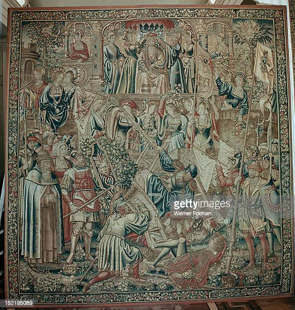 The tapestry The Battle from the series The Romaunt of the Rose Based on the homonymous poem it depicts the battle between the God of Loves friends...