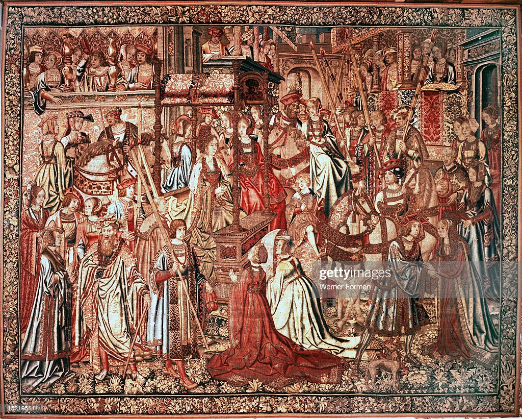 The tapestry The Triumph of Beatrice from the series The Story of the Swan Knight, the French version of Lohengrin : News Photo