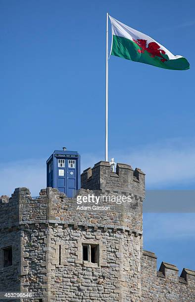 The TARDIS appears on the top of Cardiff Castle ahead of the 'Doctor Who' premiere at St David's Hall on August 7 2014 in Cardiff Wales