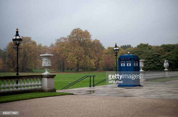 The Tardis is seen in the grounds of Buckingham Palace during a reception to mark the 50th anniversary of the hit TV series at Buckingham Palace as...