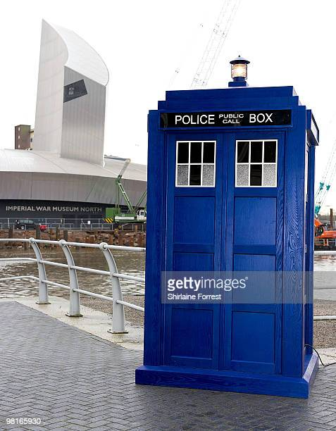 The Tardis with backdrop of Imperial War Museum North at photocall to launch the new season of 'Dr Who' at The Lowry on March 31, 2010 in Manchester,...