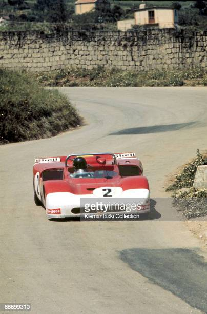 The Targa Florio Sicily May 16 1971 This is the second place Alfa Romeo 33/3 which was driven by Andrea de Adamich and Gijs von Lennep