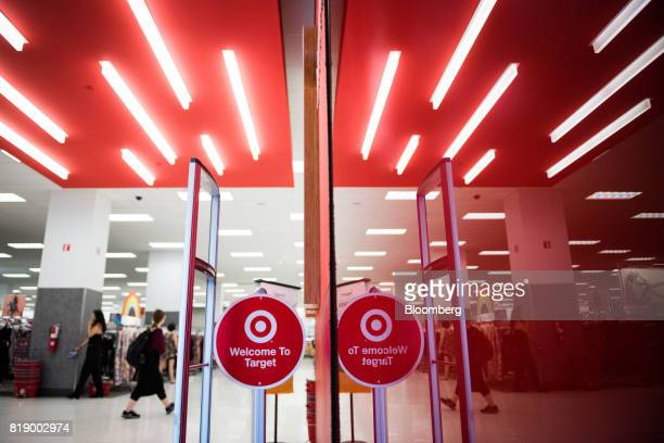 The Target Corp logo is see at the entrance of a store at City Point in the Brooklyn borough of New York US on Tuesday July 18 2017 Bloomberg is...
