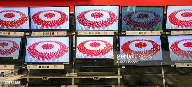 The Target Logo appears on the wall of Flatscreen TV's at the Target store and training facility in Guelph Ontario which opens tomorrow at 8am