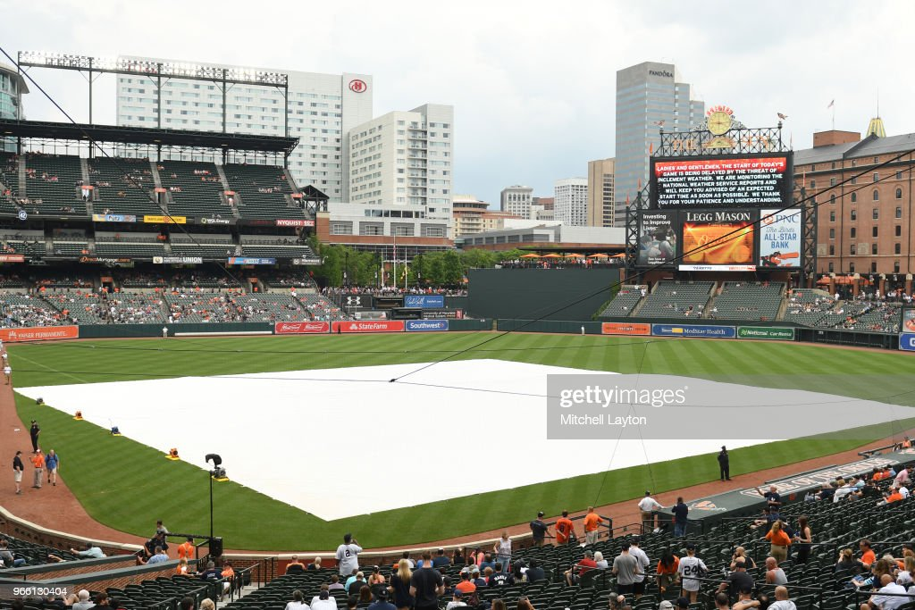 The tarp covers the field as the game goes into a rain delay to start the game before a baseball game between the New York Yankees and the Baltimore Orioles at Oriole Park at Camden Yards on June 2, 2018 in Baltimore, Maryland.