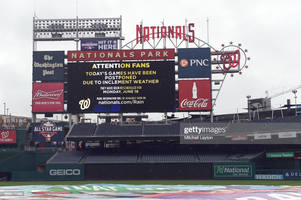 The tarp covers the field as the Washington Nationals cancelled tonights game because of rain against the New York Yankees at Nationals Park on May 16, 2018 in Washington, DC.